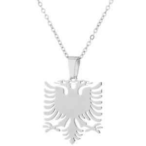 Albanien Albania Silber feine Kette Anhänger Adler Doppelkopf Edelstahl