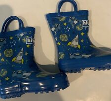 New  Toddler Boys Blue Space Rain Boots Size 5