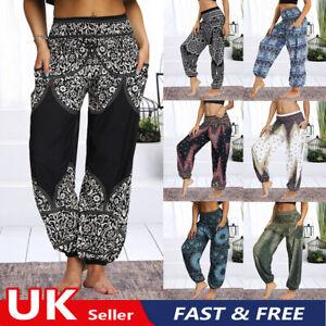 Women's Harem Trousers Yoga Hippy Pants Dance Baggy Thai Loose Boho Ladies UK