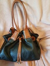 two tone tan and black leather bag by borse in pelle made in italy