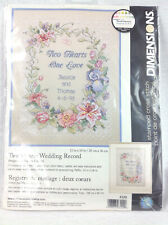 Dimensions 3122 Two Hearts Wedding Record Complete Kit Cross Stitch Needlepoint