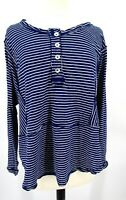 Free People Hong Kong Top Henley Tee Long Sleeve Blue White Size Small 3287