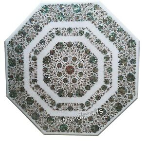 Shiny Gemstones Inlaid Garden Table Top Marble Dining Table Home Assents 42 Inch