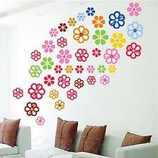 COLOURFUL FLOWERS SET 46 pcs WALL ART STICKERS HOME ROOM DECORATION DIY DECOR