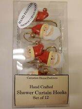 Carnation Home Fashions Santa Claus Hand Crafted Shower Curtain Hooks Set of 12