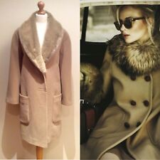 WINDSMOOR CAMEL COAT SIZE 18 WOOL ANGORA MIX FAUX FUR COLLAR