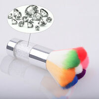 Mini Colorful Nail Art Cosmetics Powder Dust Cleaning Brush Rhinestones Handle