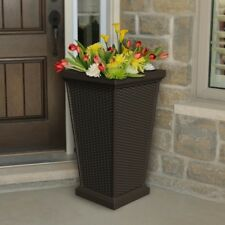 Planter 16 in. Plastic Self-Watering Textured Weather Resistant in Espresso