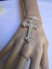 Women Bracelet Fashion Silver Big Cross Charm Hand Chain Slave Ring Rhinestones