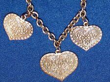 Girocollo donna alla moda con 3 pendenti cuore oggetto usato perfette condizioni