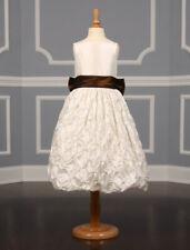 BRAND NEW Ladybug Collection 1171 Flower Girl Dress Sleeveless Ivory Brown Bow 4