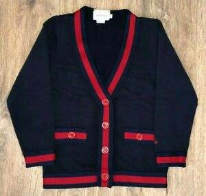 Gucci Boys Kids dark blue navy red button cardigan sweater size 5Y (5 Years)