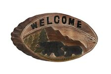 Black Bear Wood Carving Welcome Sign Cabin Rustic Decor