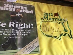 Phil Mickelson signed (on 4/6/12) 2012 Masters Flag Framed - JSA & Provenance