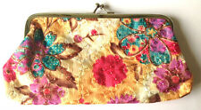 Gold Cream, Pink & Purple Chinese Silk Embroidered Snap Purse Clutch Make Up Bag