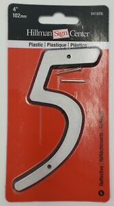 Hillman Sign Center House Numbers Nail-On Reflective Silver Color Pick A Number
