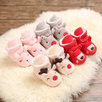 Baby Cozy Fleece Booties Christmas Reindeer Elk Newborn Shoes Toddler Footwear