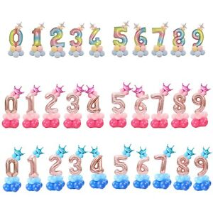 """Aluminium Foil 32"""" Number (0-9) Balloon Tower for Birthday, Wedding Decorations"""