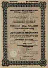 Elektrizitätswerk Mark AG 1939 Hagen Iserlohn Lüdenscheid Herdecke Rare 2000 RM