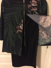 Floral Layered Dress Party Black Green Ted Baker Size 0 1 6 8
