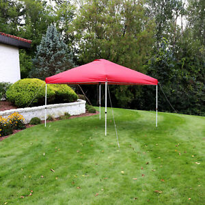 Sunnydaze 12x12-Foot Premium Pop-Up Canopy with Rolling Carry Bag - Red