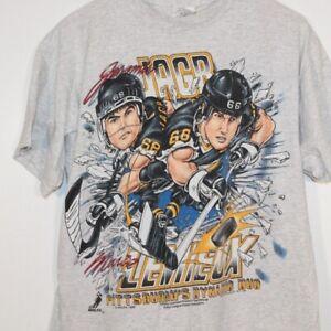 Pittsburgh Penguins NHL Lemieux Jagr Vintage Shirt Black Unisex Reprint TK1627