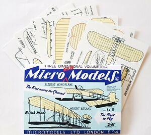 Micromodels AVII Wright Biplane & Blériot Monoplane Micro New Models card kit