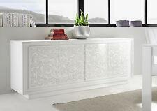 Credenza Moderna, Madia di Design, 4 ante, Bianco Opaco con frontali Serigrafia