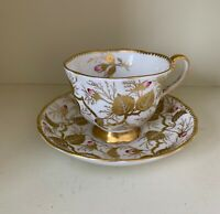 ROYAL CHELSEA English Bone China Gold Vine Leaves Blossoms Cup & Saucer teacup