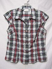 LIZ CLAIBORNE top shirt PS 6/8Petite Bust 38 sleevless Plaid Button Down