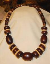 Q Handsome Light and Dark Chunky Wooded Beads Chocolate Beige Pendant Necklace