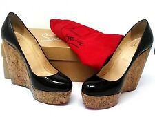CHRISTIAN LOUBOUTIN Black Patent Leather Cork Wedge shoes pumps Coroclic