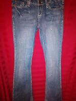 Premiere Denim Womens Sz 1/2 Skinny Blue Jeans Distressed Embroidered