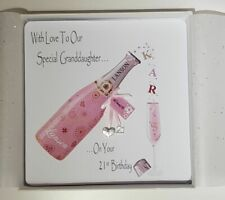 Personalised 21st Birthday Card Granddaughter Pink Champagne Any Relation, Ag...