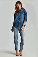 New Womens Designer True Religion Jeans S Denim Long Sleeve Top Blue Zipper Side