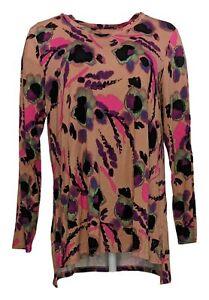 LOGO by Lori Goldstein Women's Top Sz L Rayon Long Sleeve Printed Pink A451756