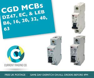 CGD DZ47, EC, & LEC MCBs B6, B16, B20, B32, B40, B63 Circuit Breakers - USED
