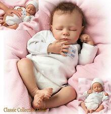 "Ashton Drake ""ASHLEY"" Lifelike Breathing Newborn Baby Girl Doll-NOUVEAU ancrée cheveux!"