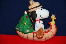 VINTAGE SNOOPY WOODSTOCK CANOE CHRISTMAS TREE SCOUT ORNAMENT KURT ADLER