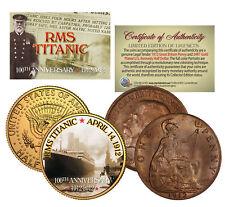 1912 TITANIC *100th Anniversary* 2-Coin Set 24K JFK Half Dollar & 1912 UK Penny
