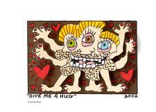 """Original  James Rizzi 3 D Arbeit """"Give me a hug"""" Zertifikat handsigniert 2002"""