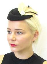 Noir Marron Clair Plume Casemate Chapeau Bandeau De Bibi Cheveux Vintage Argent