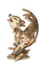 Wolf  Howling design Large Resin Wolves Sculpture Hand Painted  Ideal Gift