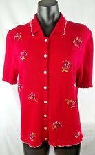 KORET Ladies Top Sweater Embroidered Red Flowers Size M Medium Ruffled Scalloped
