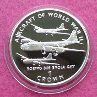 1995  ISLE OF MAN AIRCRAFT OF WW II B29 ENOLA GAY ONE CROWN  SILVER PROOF COIN