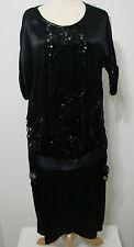 VINTAGE Flapper Dress 1920's Gatsby Black Silk Sequin Bead Net Overlay XL