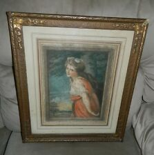 Antique Victorian Lady Hamilton Tree Colored Lithograph Hand Signed in Pencil