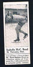 1926 Dominion Chocolate Sports Card #56 Isabella McC. Bond (Speed Skating)