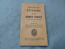 WWII Armed Forces Veteran Benefits Booklet New England Mutual WW2
