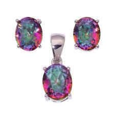 Rainbow Topaz Silver Women Jewelry Gemstone Pendant Earrings Jewelry Set NT256